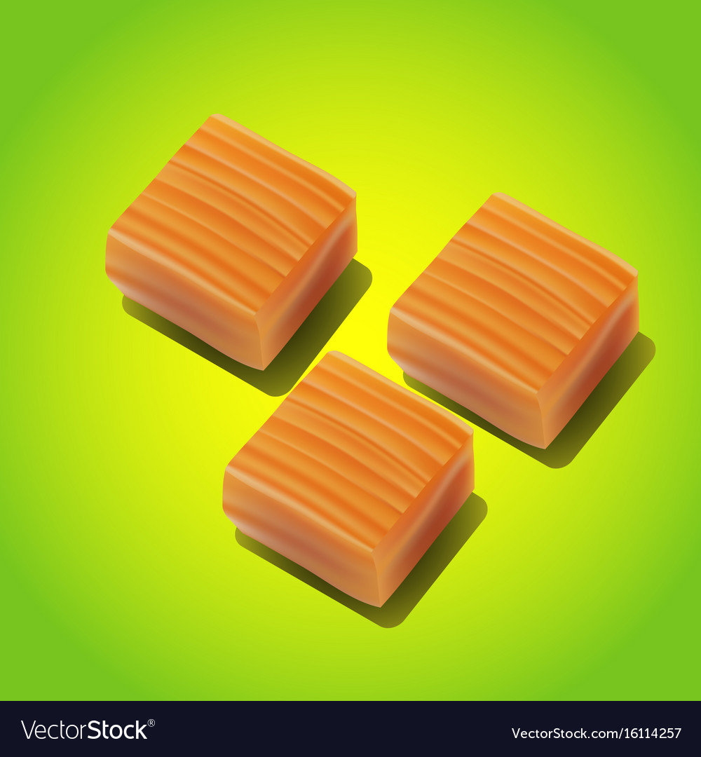 Caramel candy close-up on white background vector image