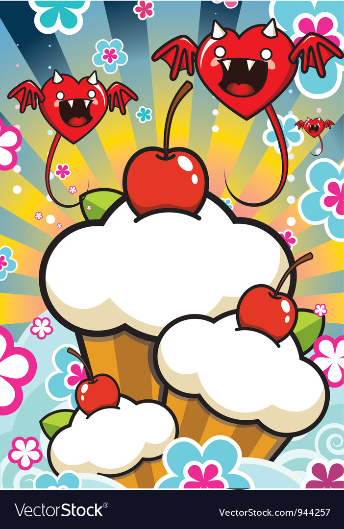 Cherry muffins vector image