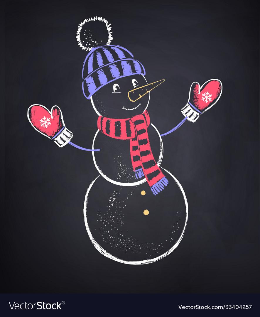 Cute snowman wearing knitted hat