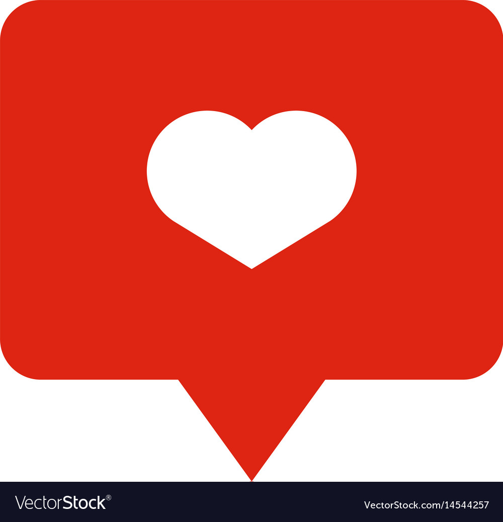 Like heart icon on a red pin isolated on white
