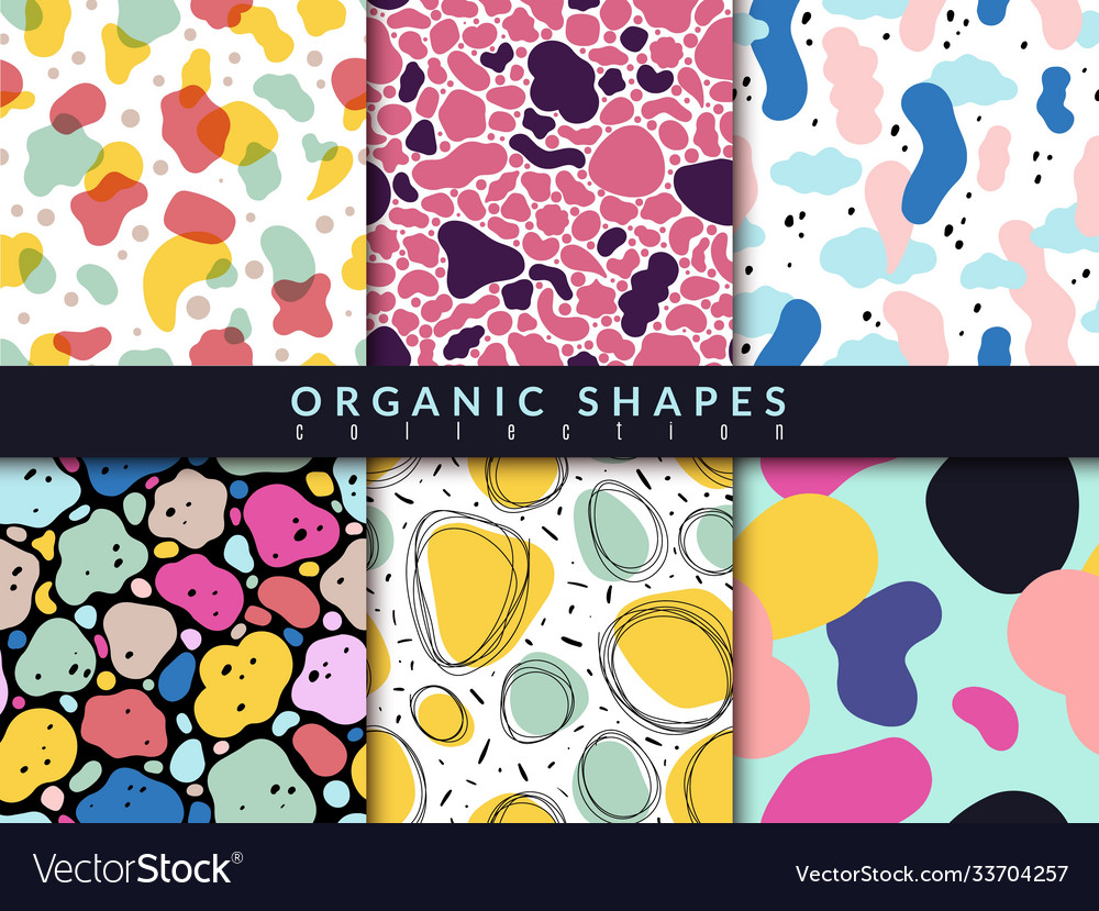 Organic shapes seamless pattern abstract color
