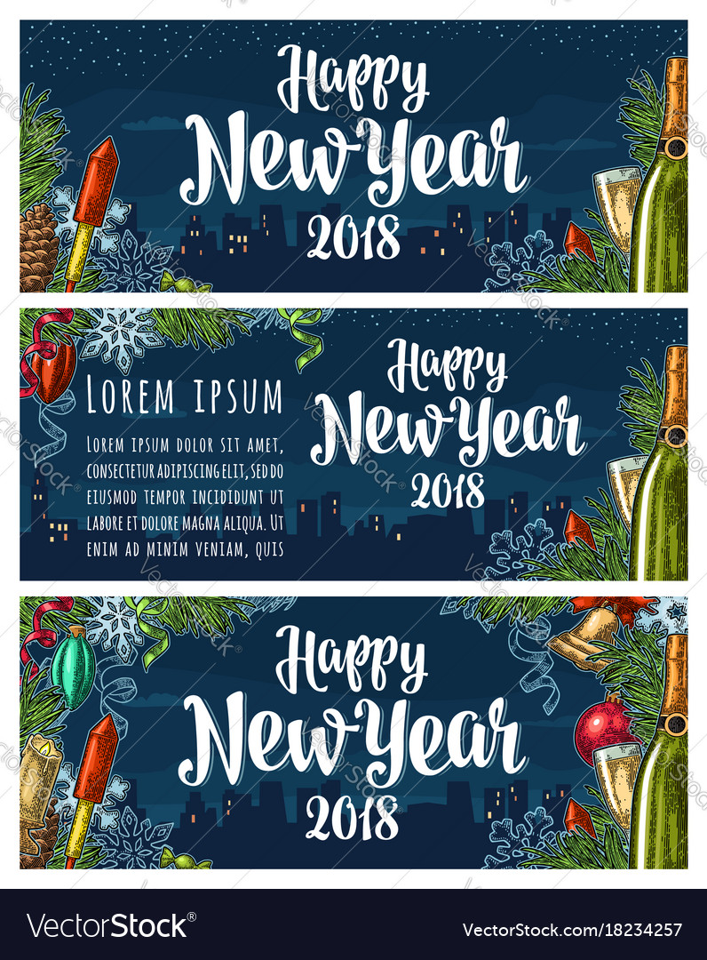 Poster happy new year 2018 calligraphy lettering