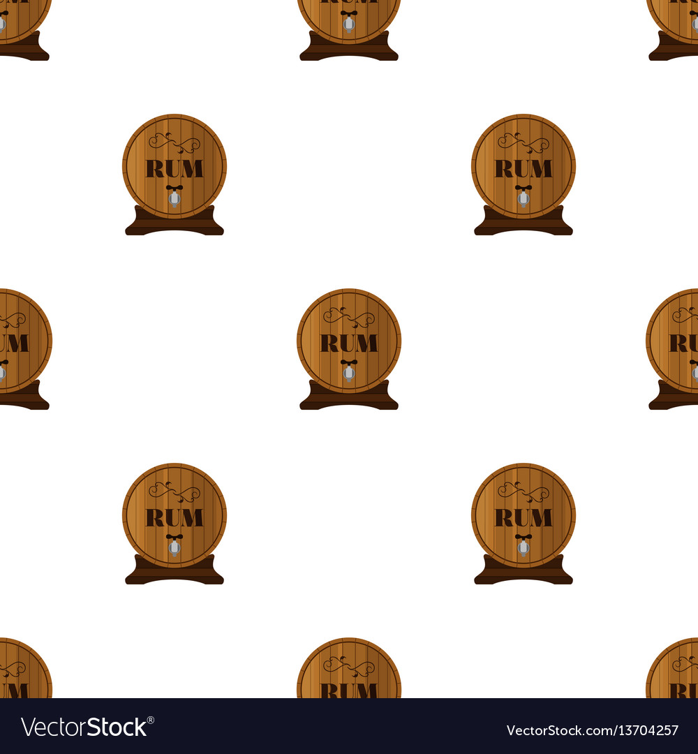 Rum seamless pattern in flat style barrels with vector image
