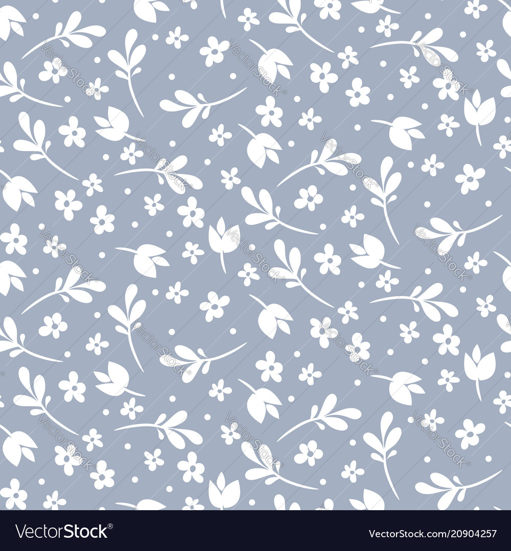 Seamless floral pattern blue and white