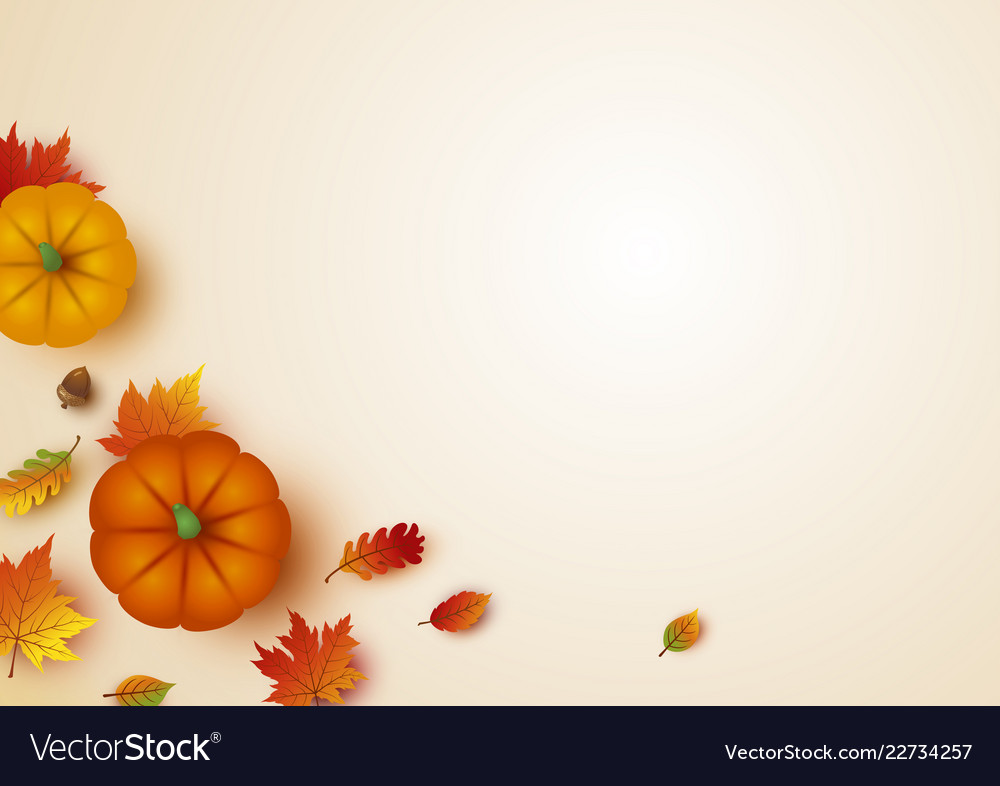 Thanksgiving design of pumpkin and maple leaves