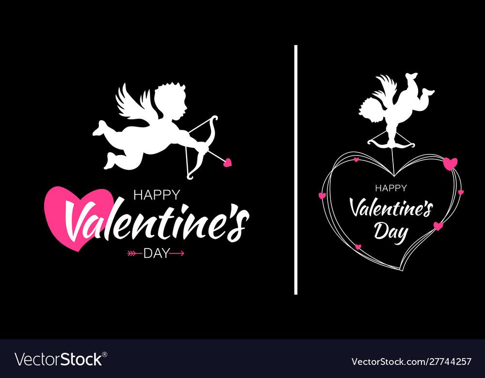 Valentines day card design set cupid amur