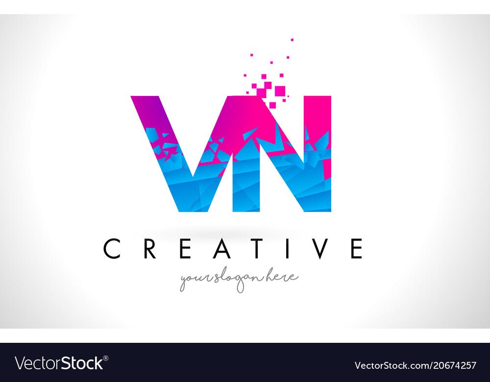 Vn v n letter logo with shattered broken blue vector image thecheapjerseys Gallery