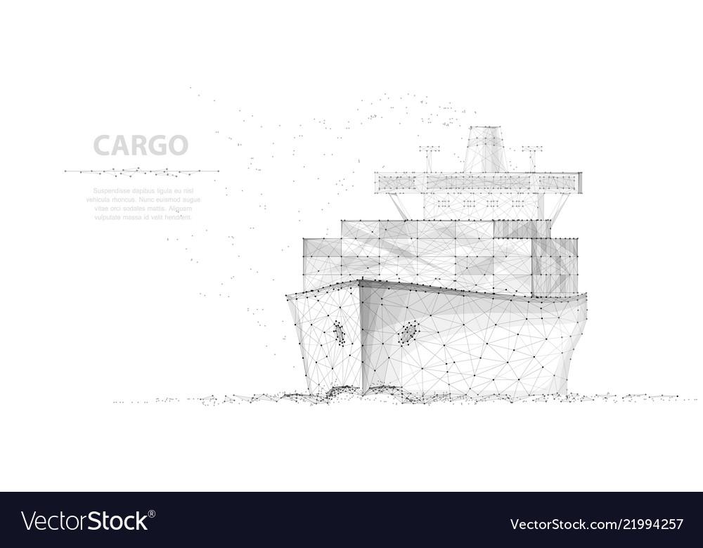 Worldwide cargo ship abstract polygonal wireframe