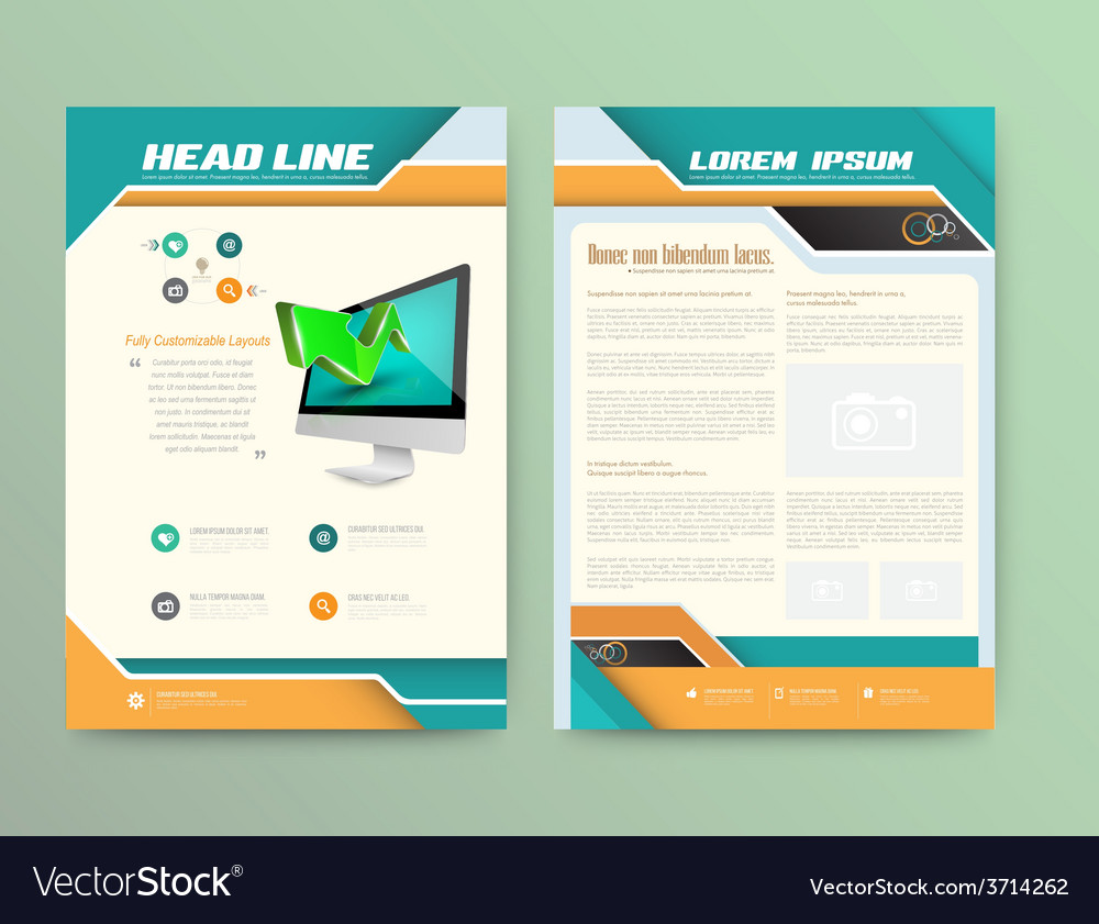 abstract brochure template flyer layout flat style