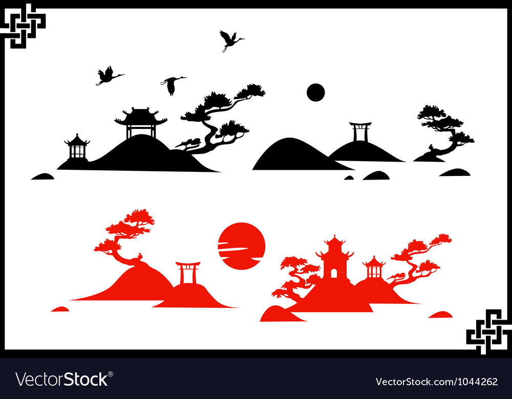 Abstract chines landscapes vector image