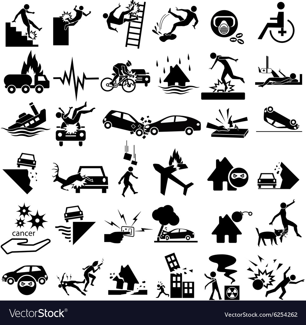 Accident insurance icons