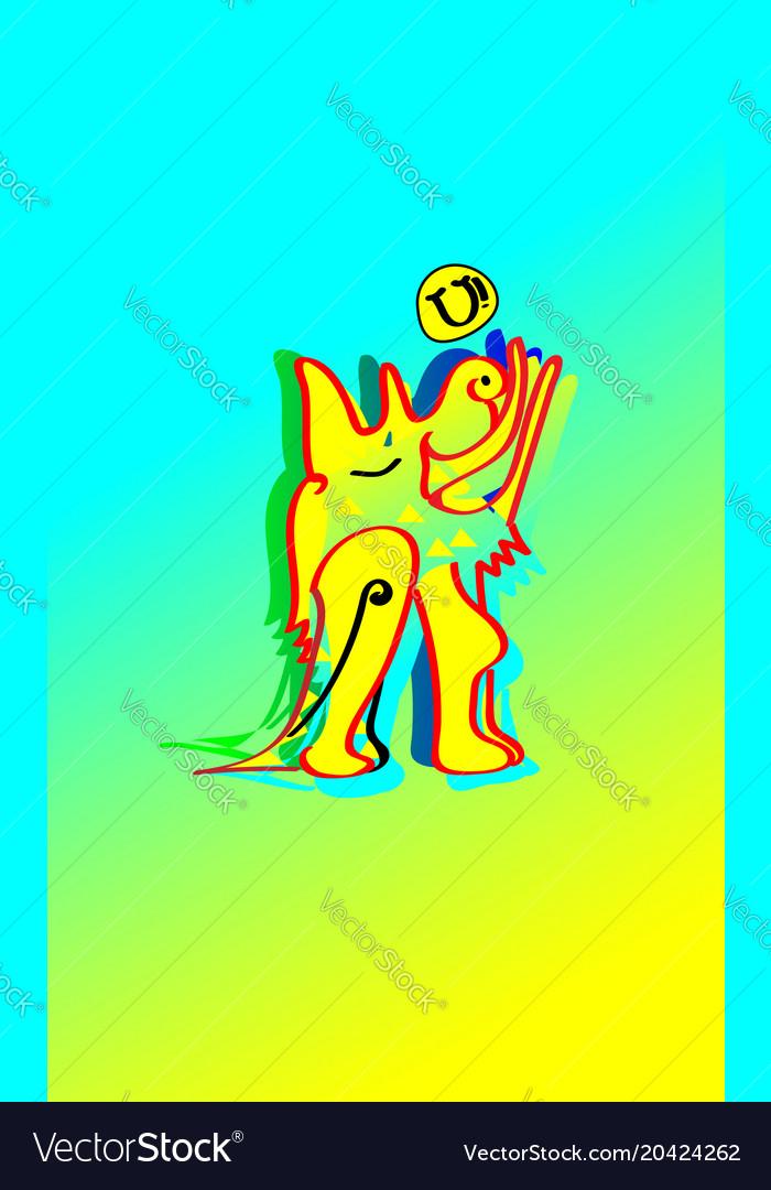 Animal emotion cartoon howling the moon yellow vector image