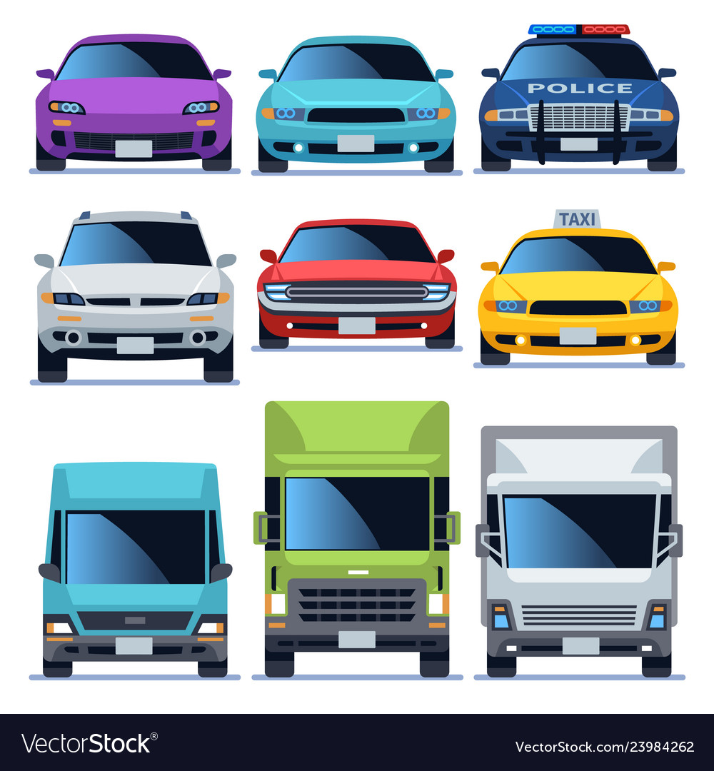 Car front view icons set vehicles driving auto