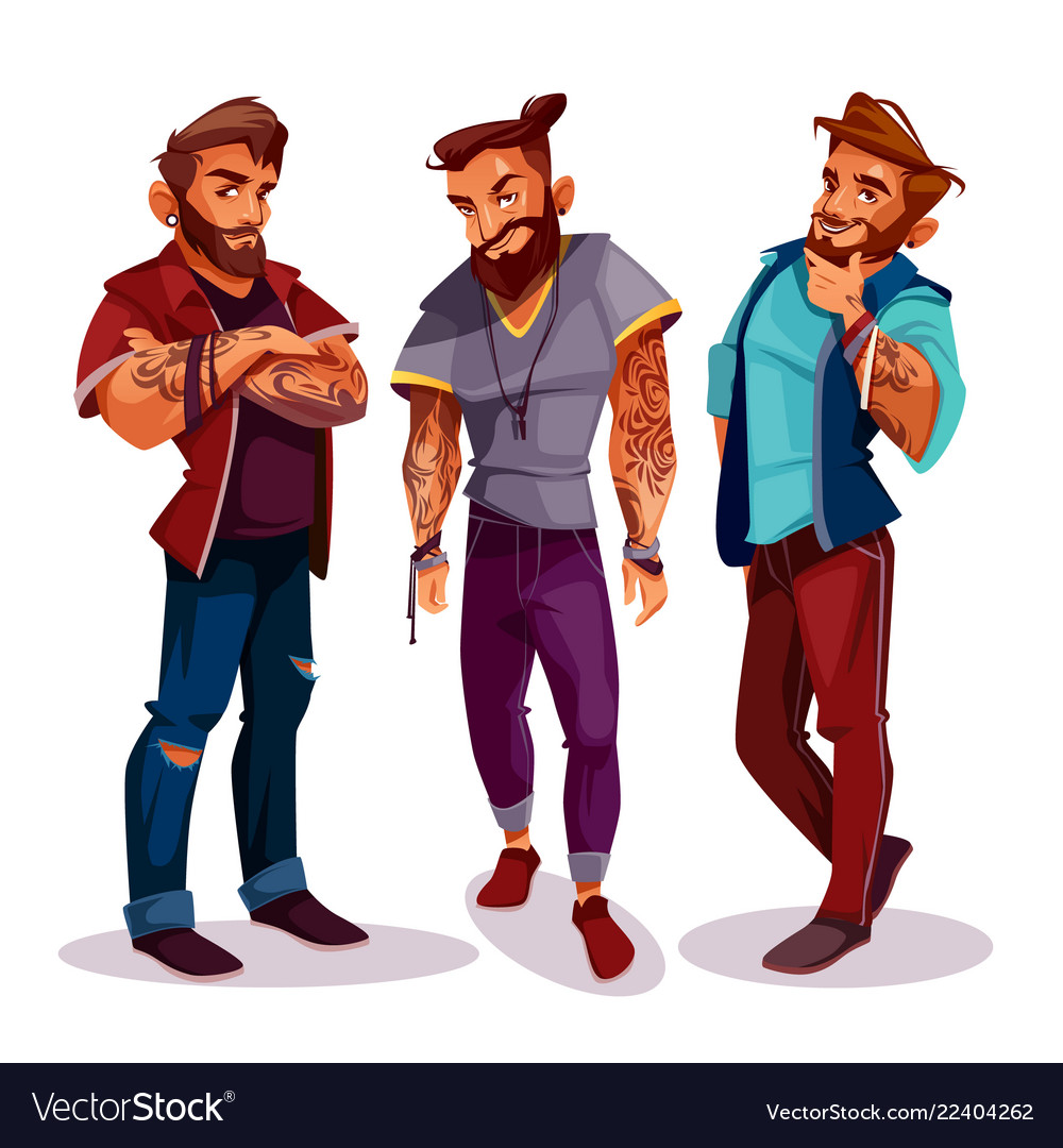 Cartoon arab hipsters with tattoos trendy