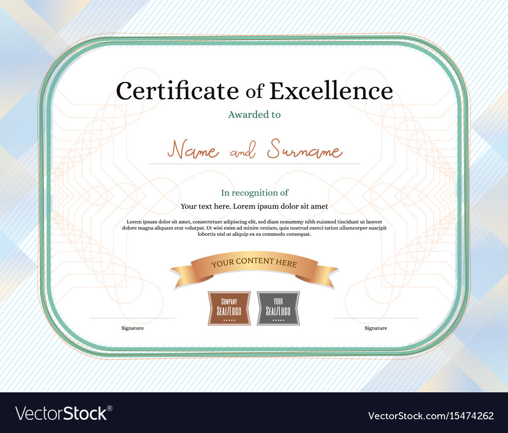 Certificate of excellence template with award Vector Image Within Award Of Excellence Certificate Template