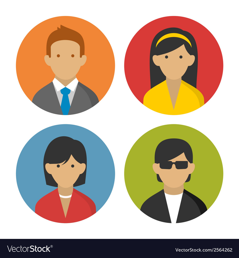 Colorful Peoples Userpics Icons Set in Flat Style