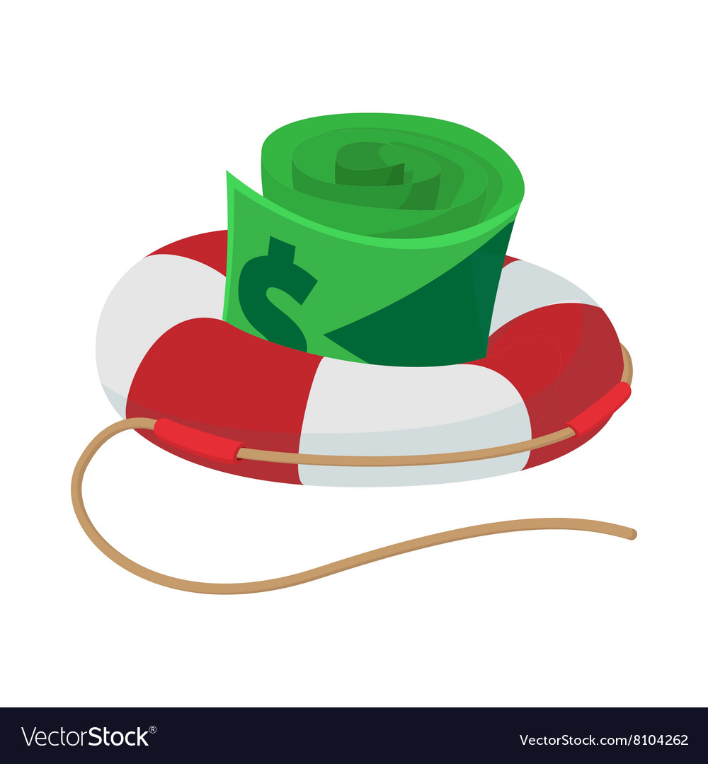Dollar bills in lifebuoy icon cartoon style vector image