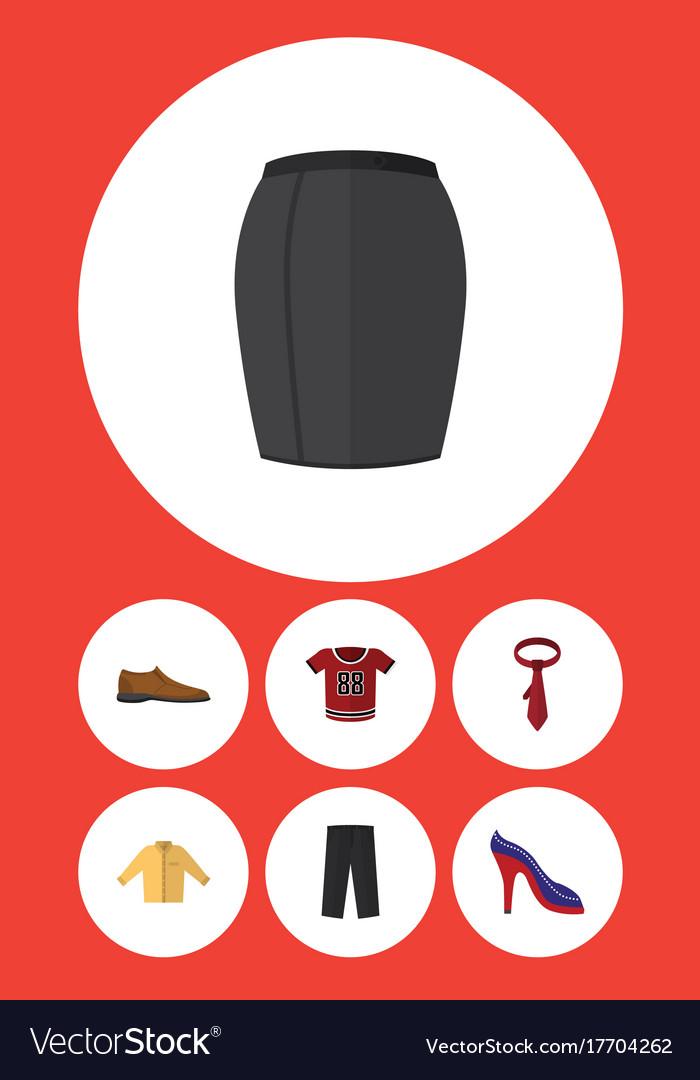 Flat icon garment set of stylish apparel banyan