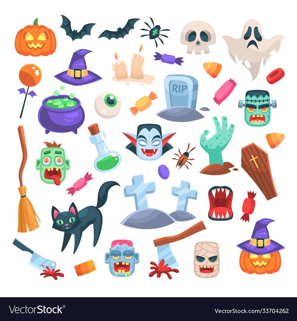 Halloween icons funny holiday candle zombie