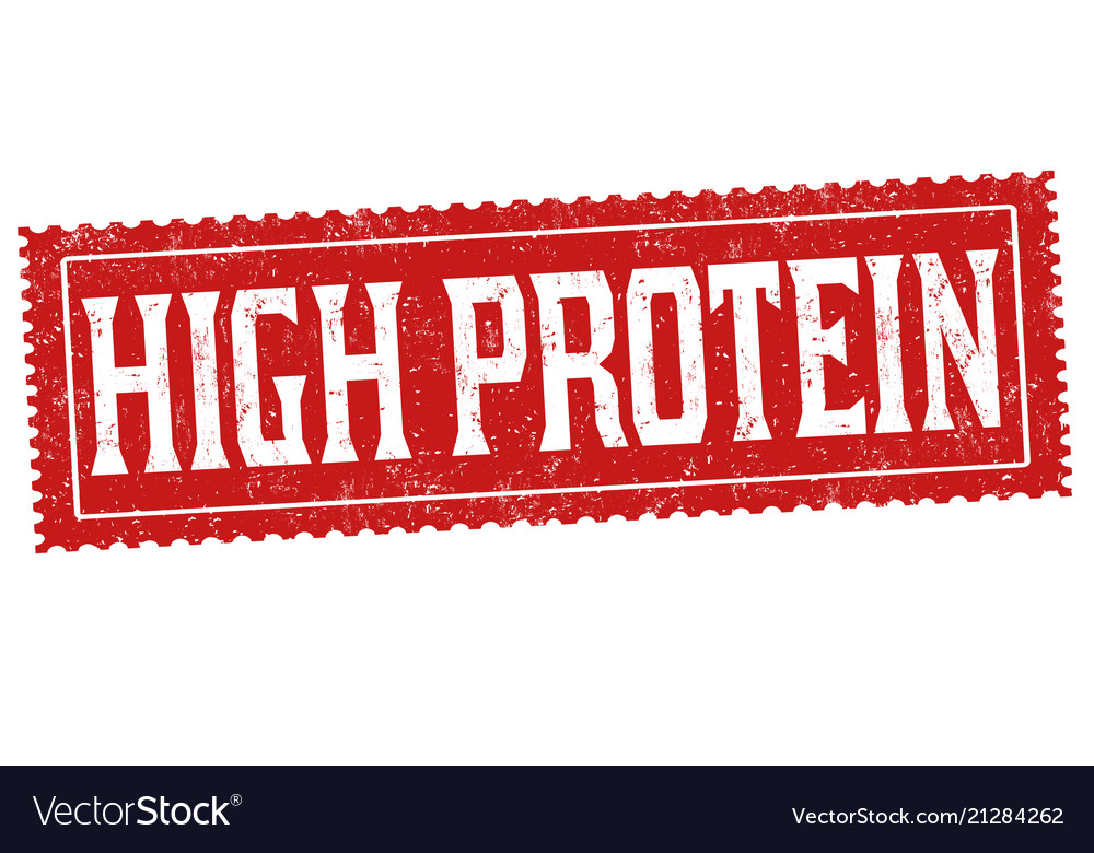 High protein grunge rubber stamp vector image on VectorStock