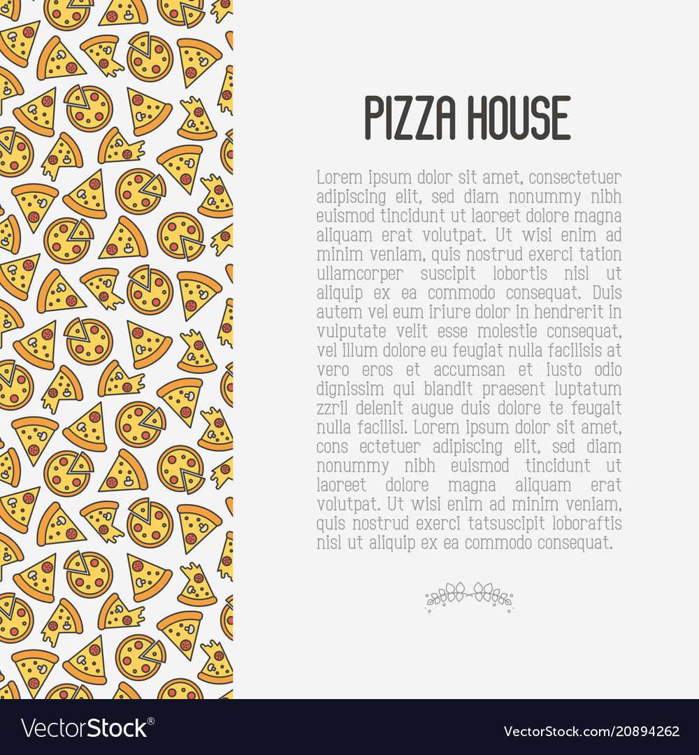 Pizza concept with thin line icons