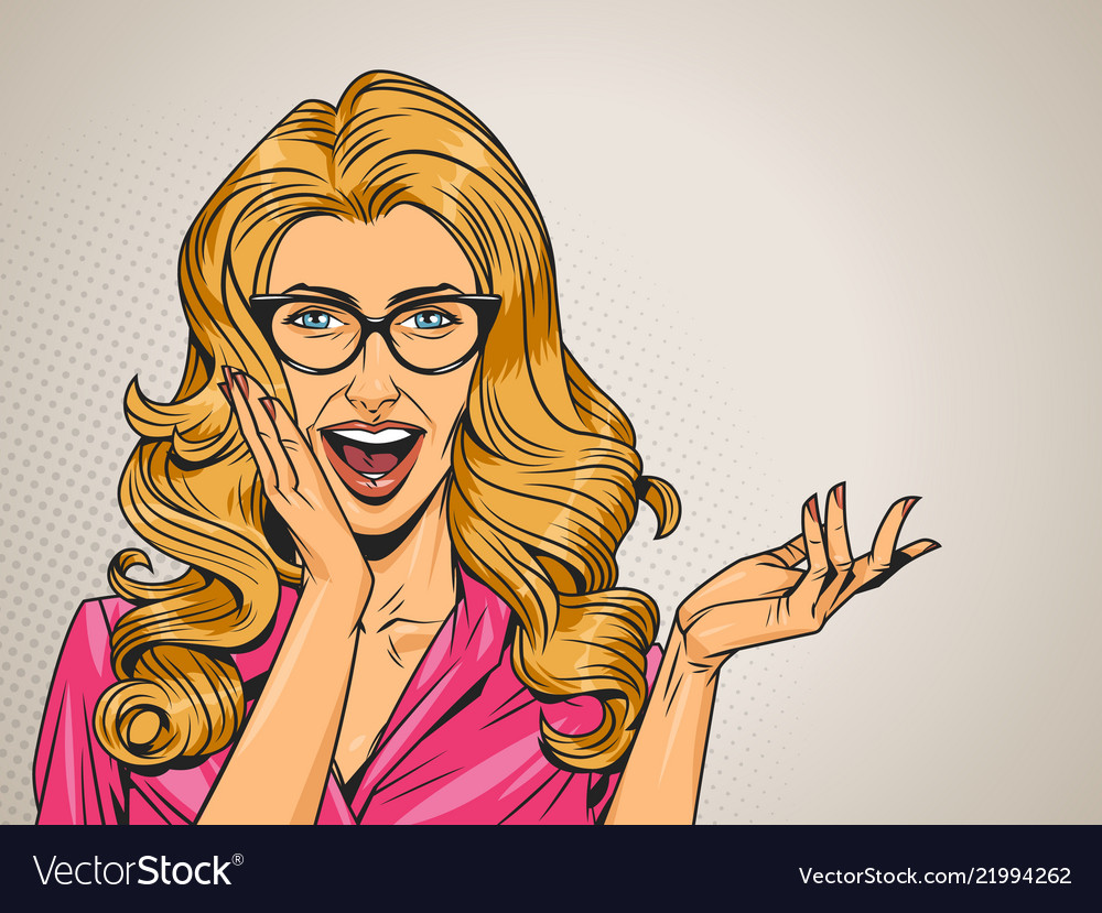 Pop art surprised blonde hair woman