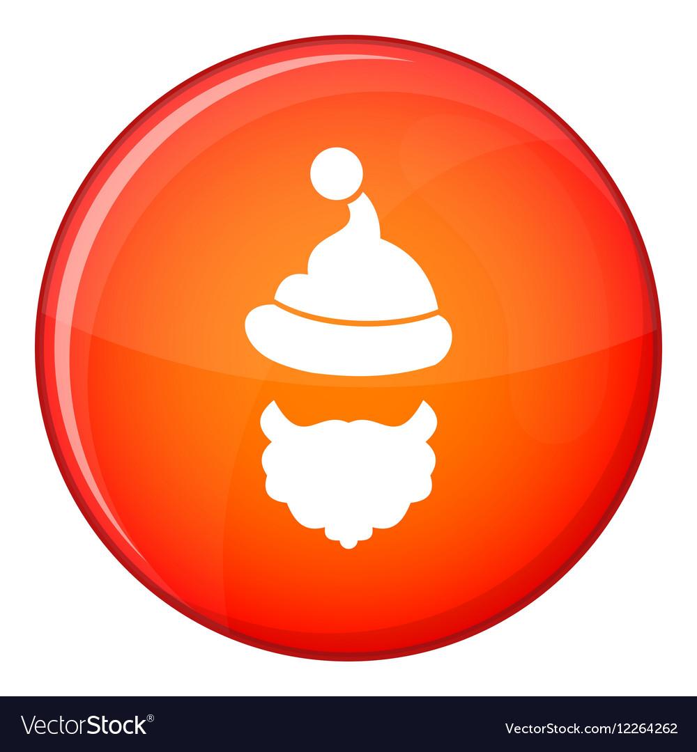 c7db7e12679 Santa Claus hat and beard icon flat style Vector Image