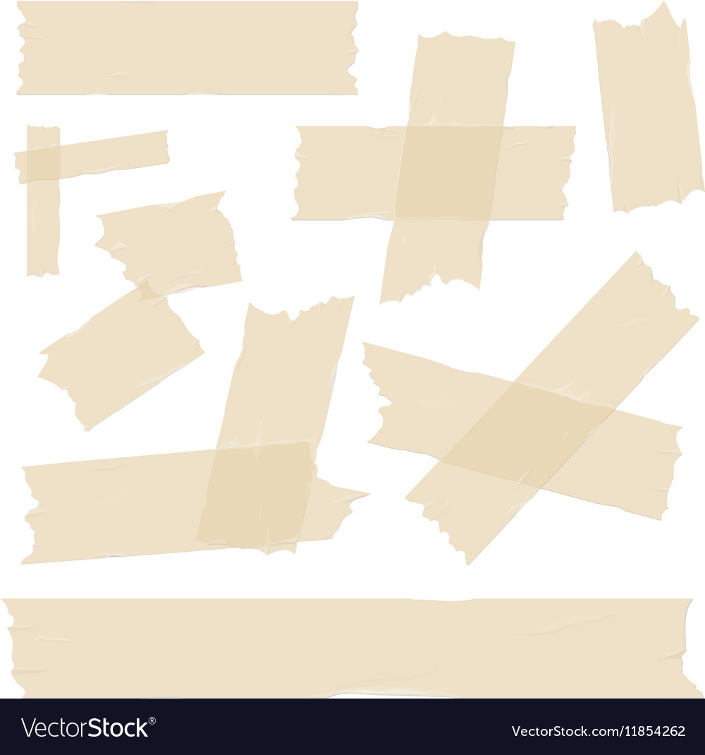 Scotch adhesive tape pieces set vector image