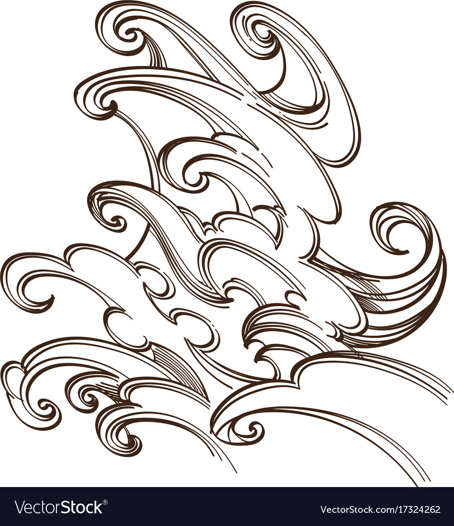 Sea or ocean wave water splash hand drawn sketch vector image