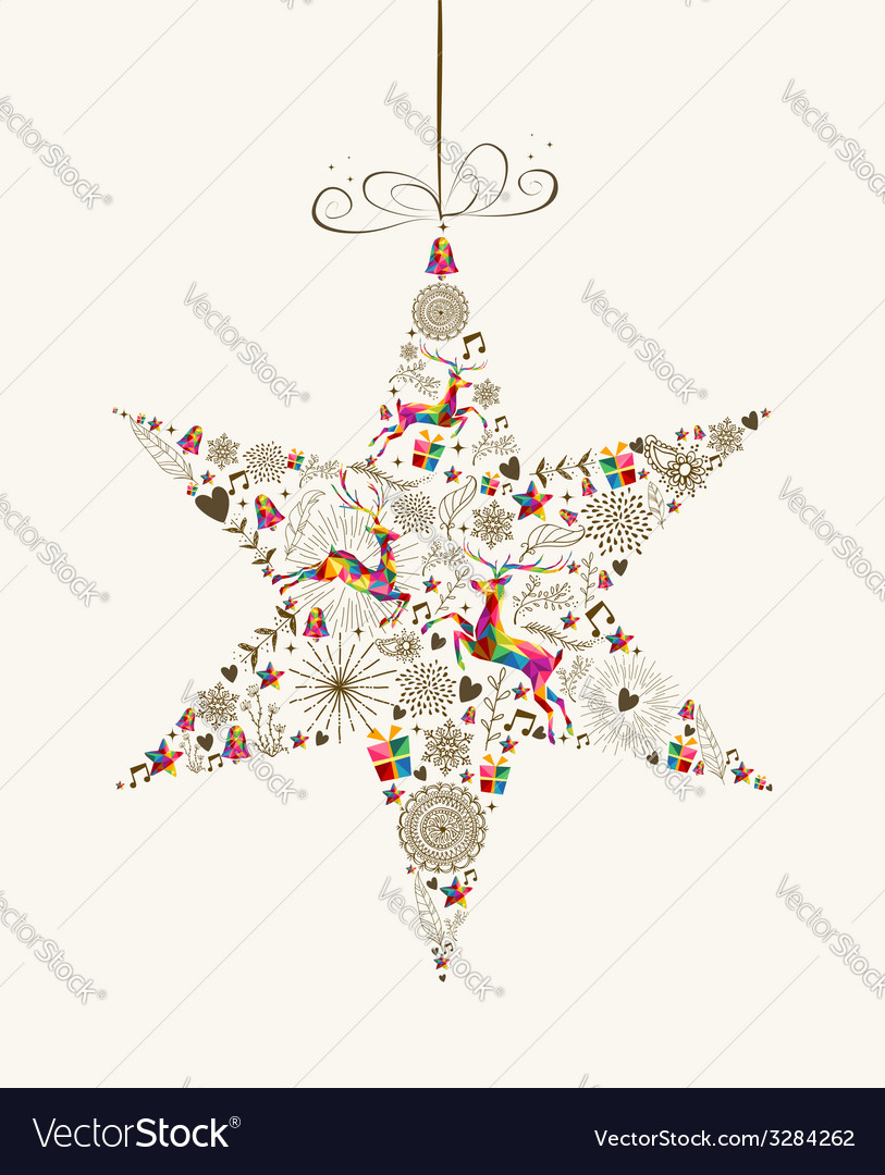Vintage Christmas star bauble greeting card