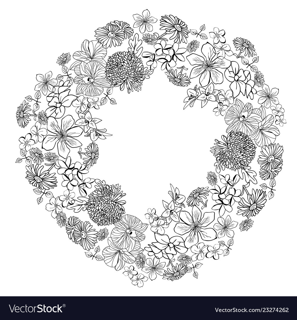 Wreath with sketch flowers blossom in white vector