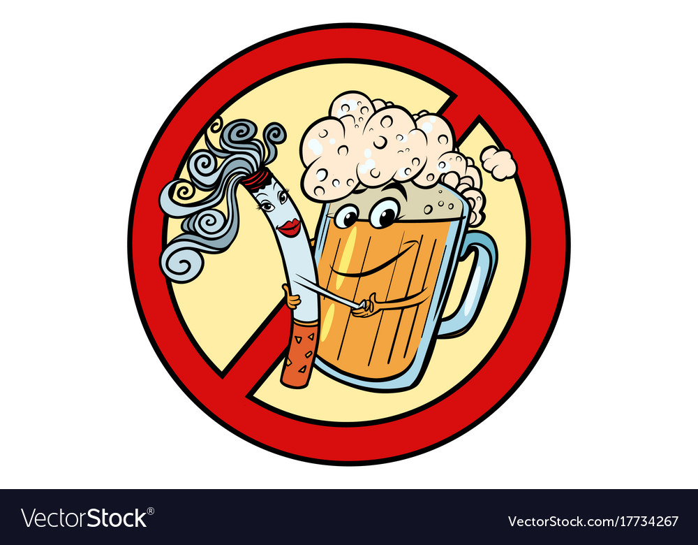 Beer And Cigarette Sign Ban Royalty Free Vector Image