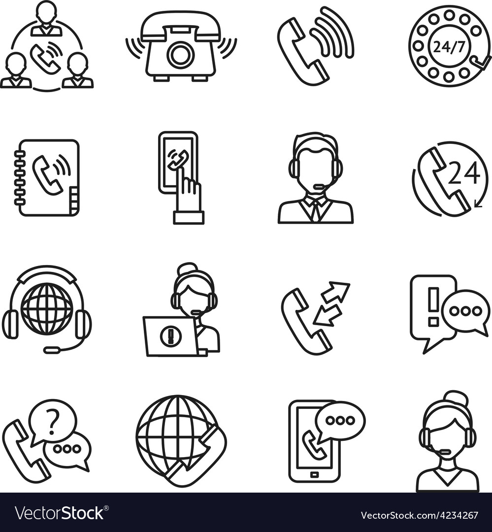 Call Center Outline Icons Set vector image