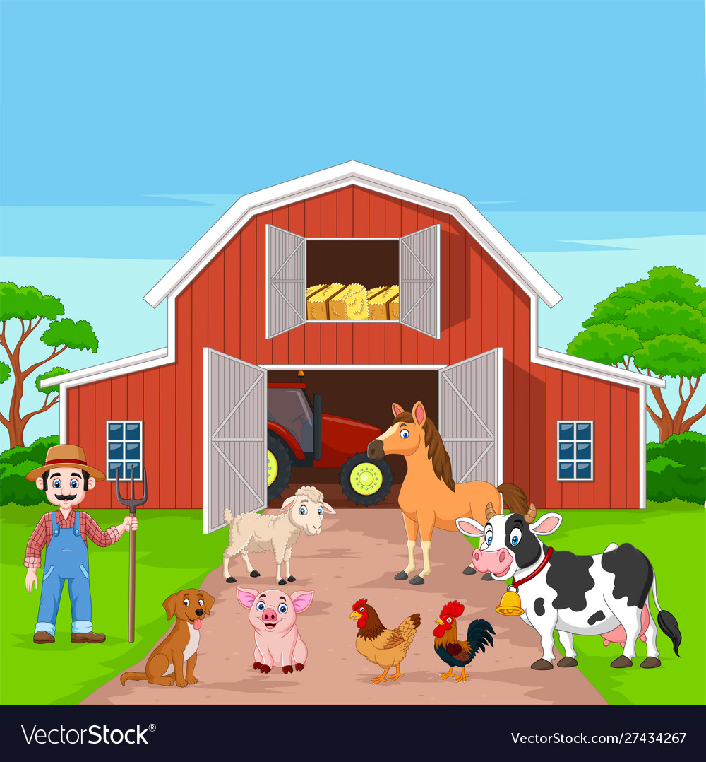 Cartoon farmer and farm animals in barnyard