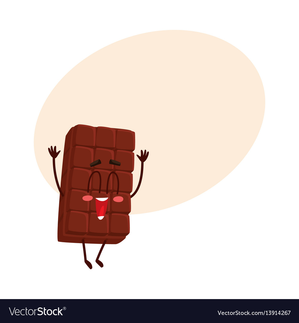 Cute chocolate bar character with funny face