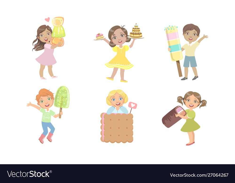 Cute kids eating sweet desserts set happy boys
