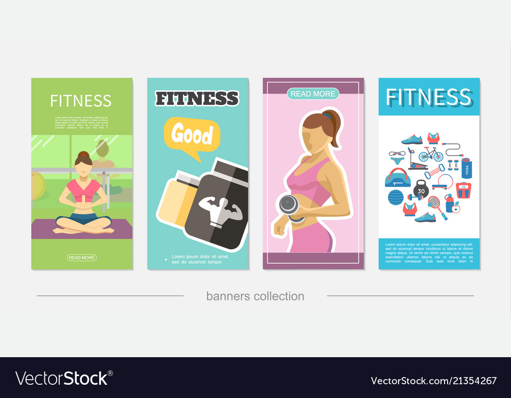 Flat fitness vertical banners