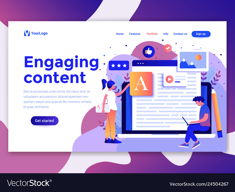 Flat modern design wesite template - engaging vector