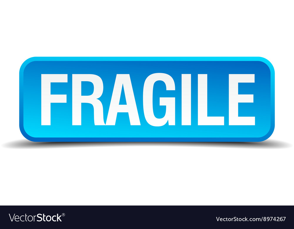 Fragile blue 3d realistic square isolated button