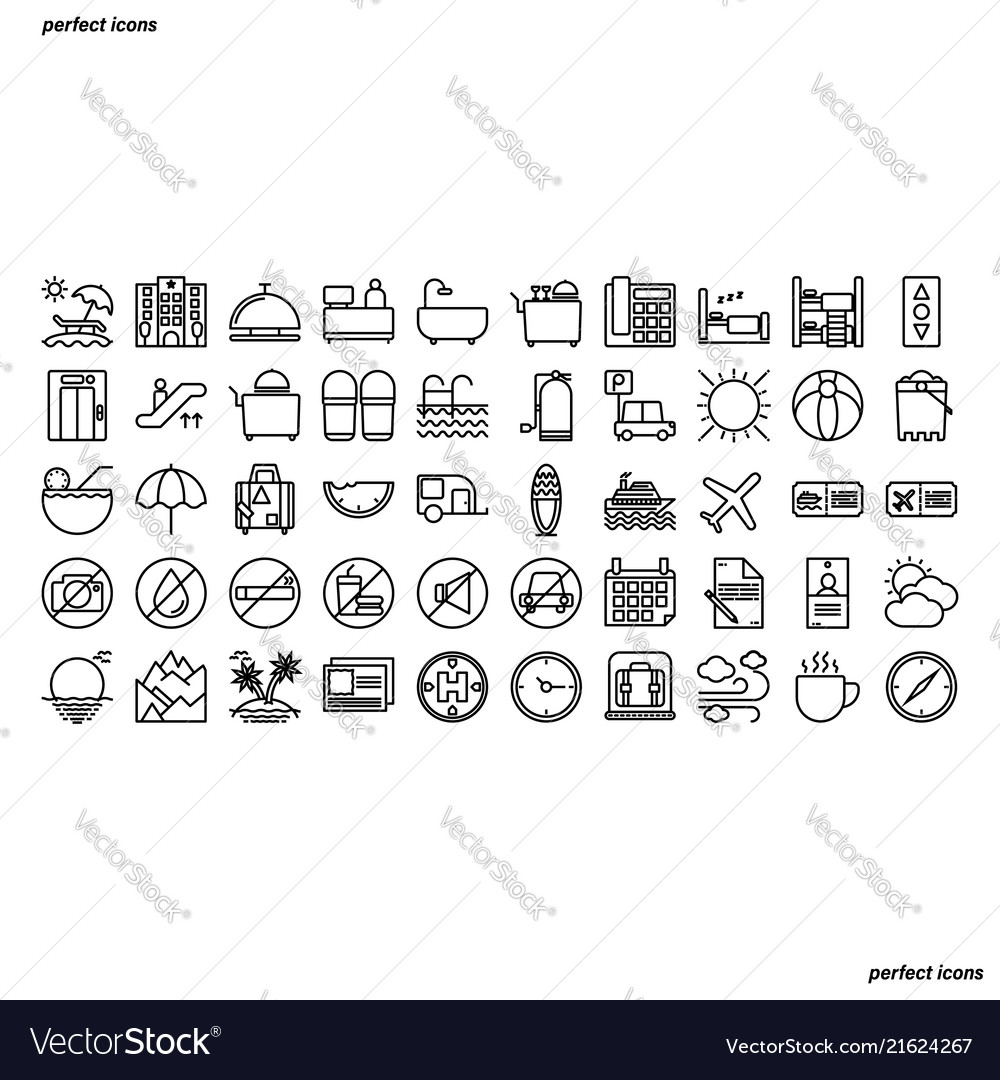 Hotel and travel outline icons perfect pixel