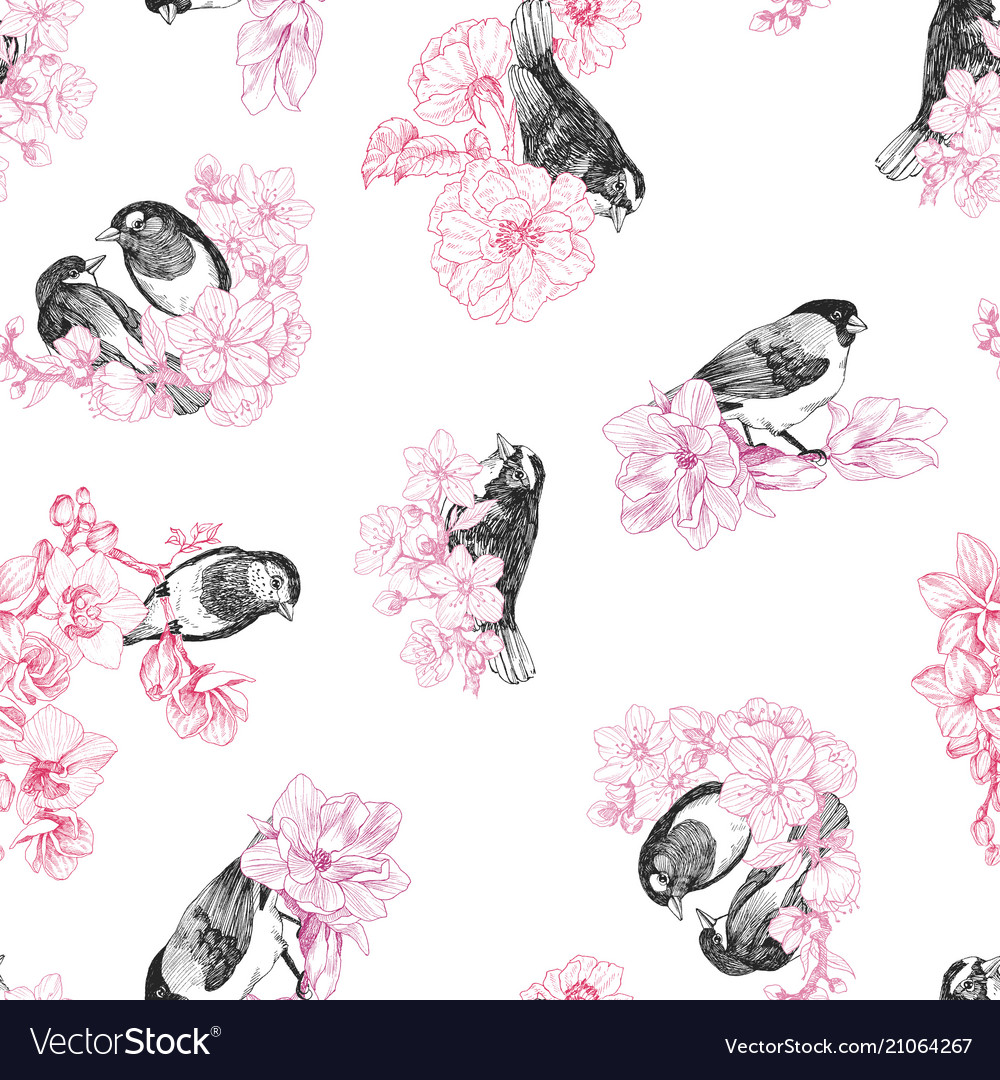 Seamless pattern of birds hand drawn in vintage