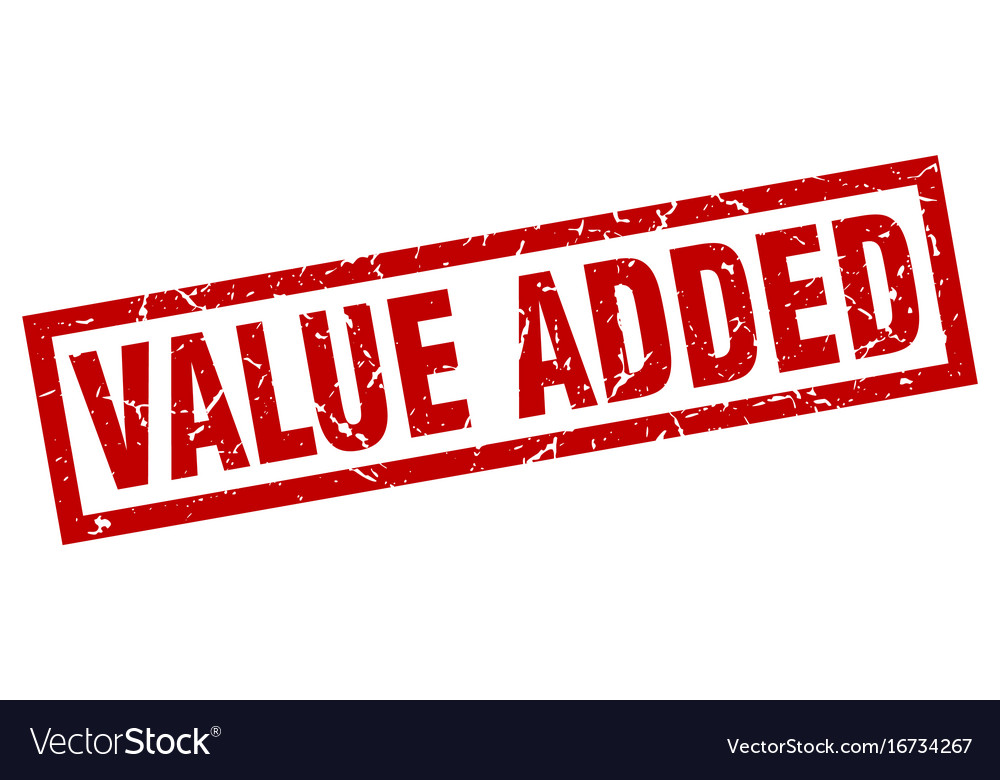 Square grunge red value added stamp vector image