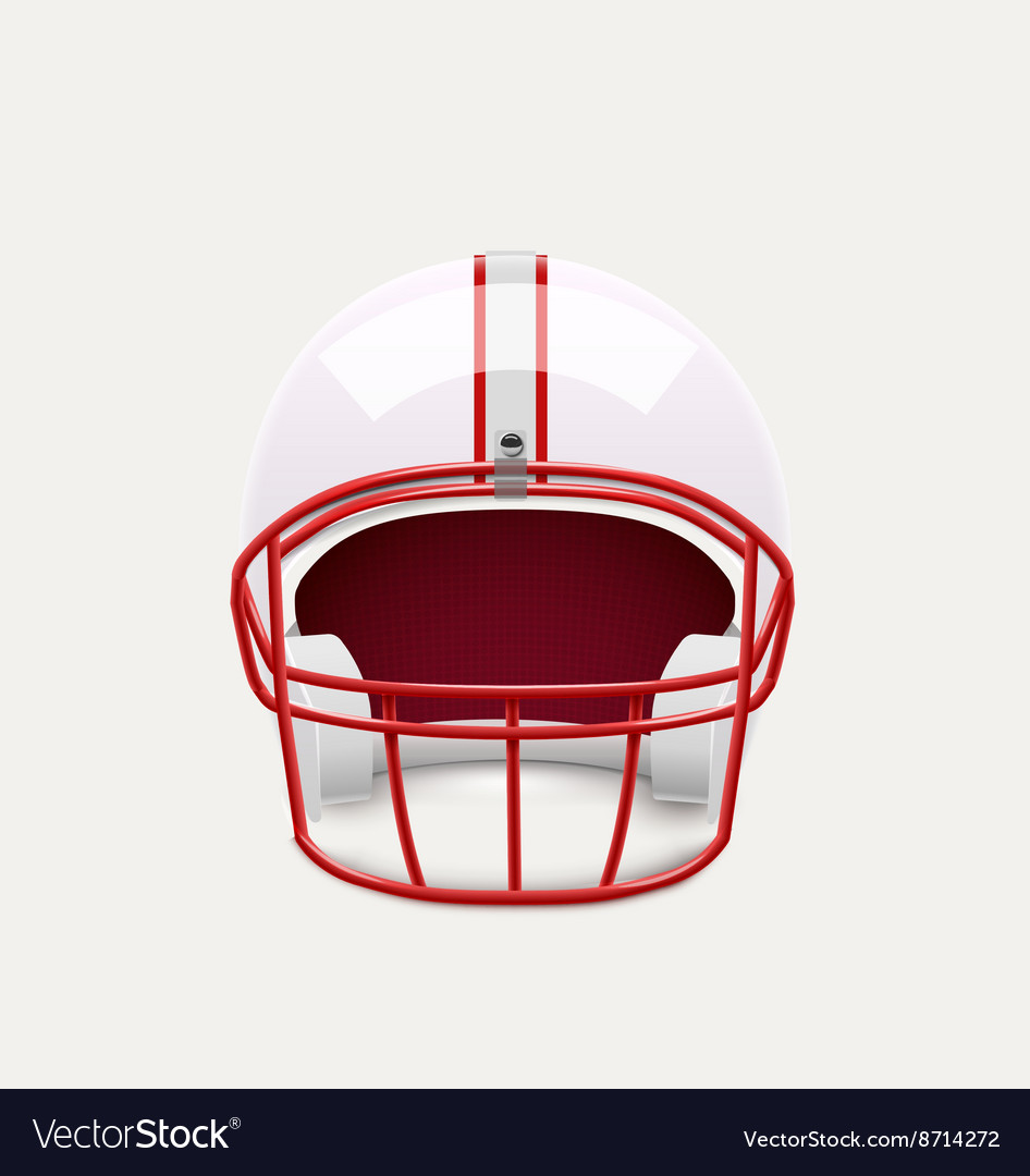 American football helmet realistic object front vector image