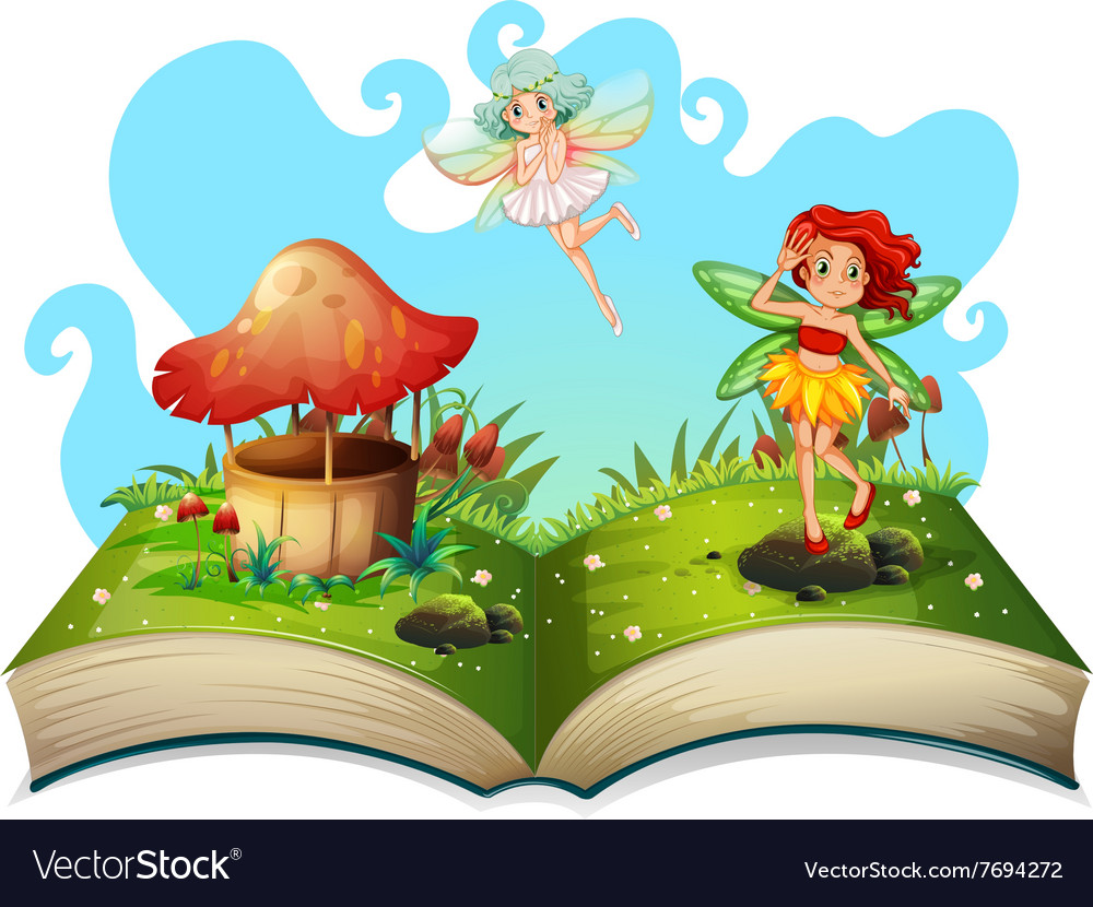 Book Of Fairies Flying In The Garden Vector Image