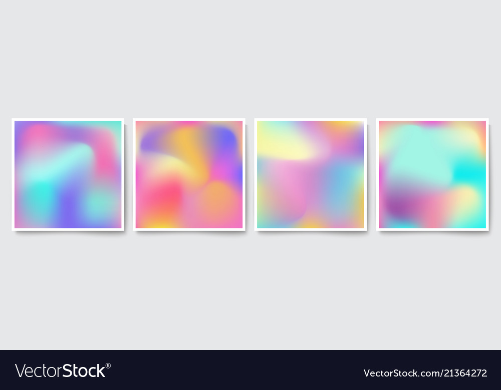 Bright holographic colorful backgrounds set
