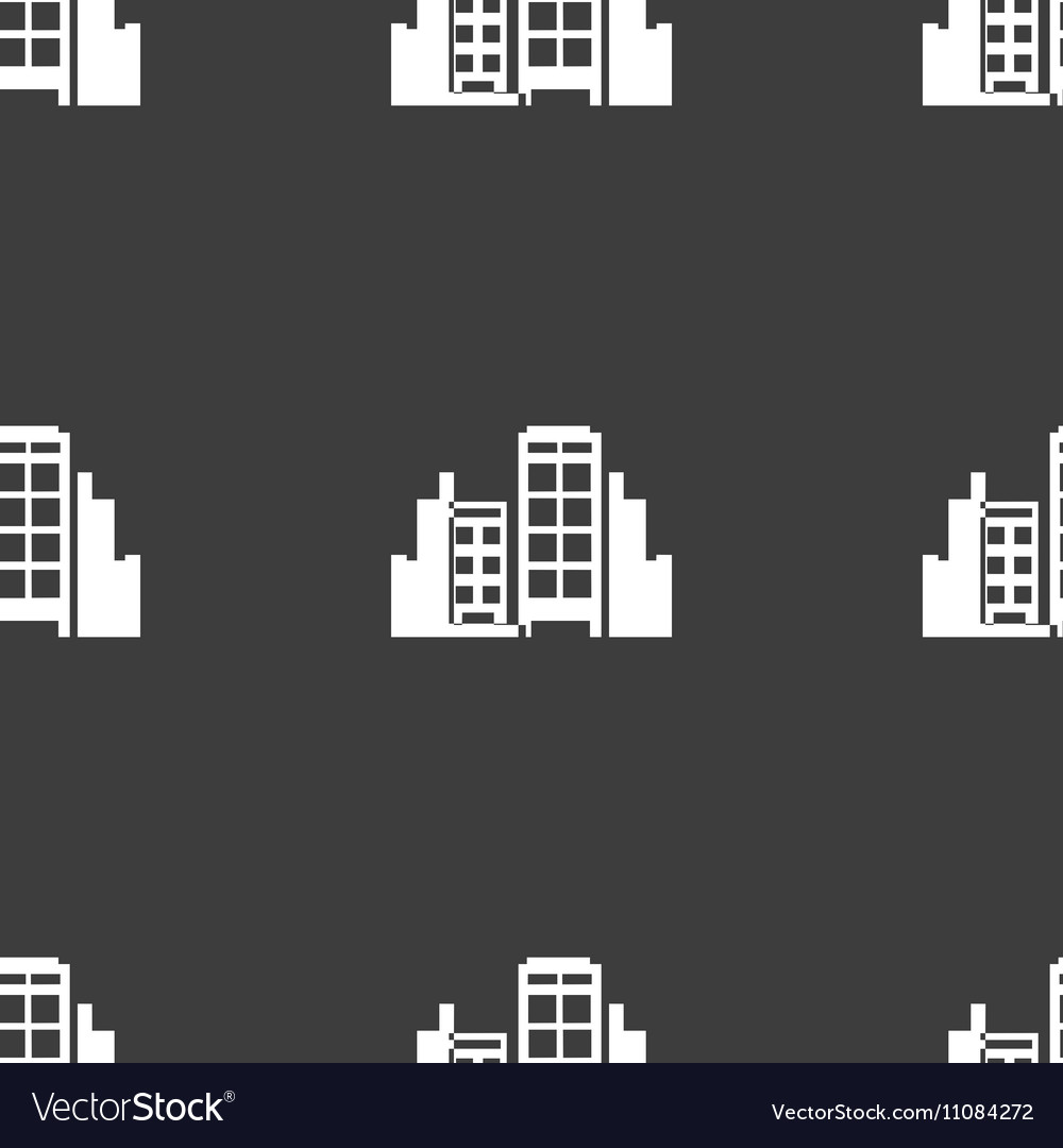 Buildings icon sign Seamless pattern on a gray
