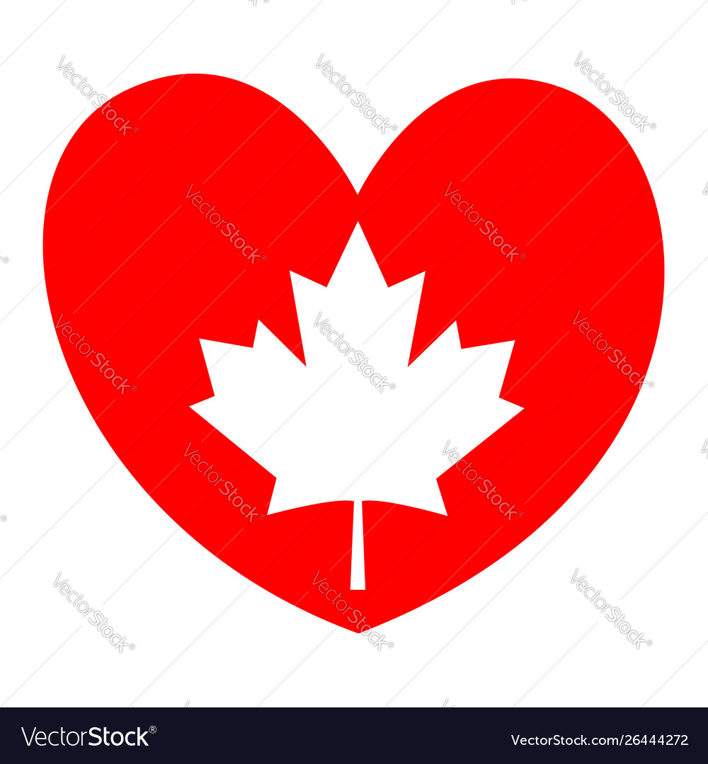Canadian maple leaf on a red heart - i love canada