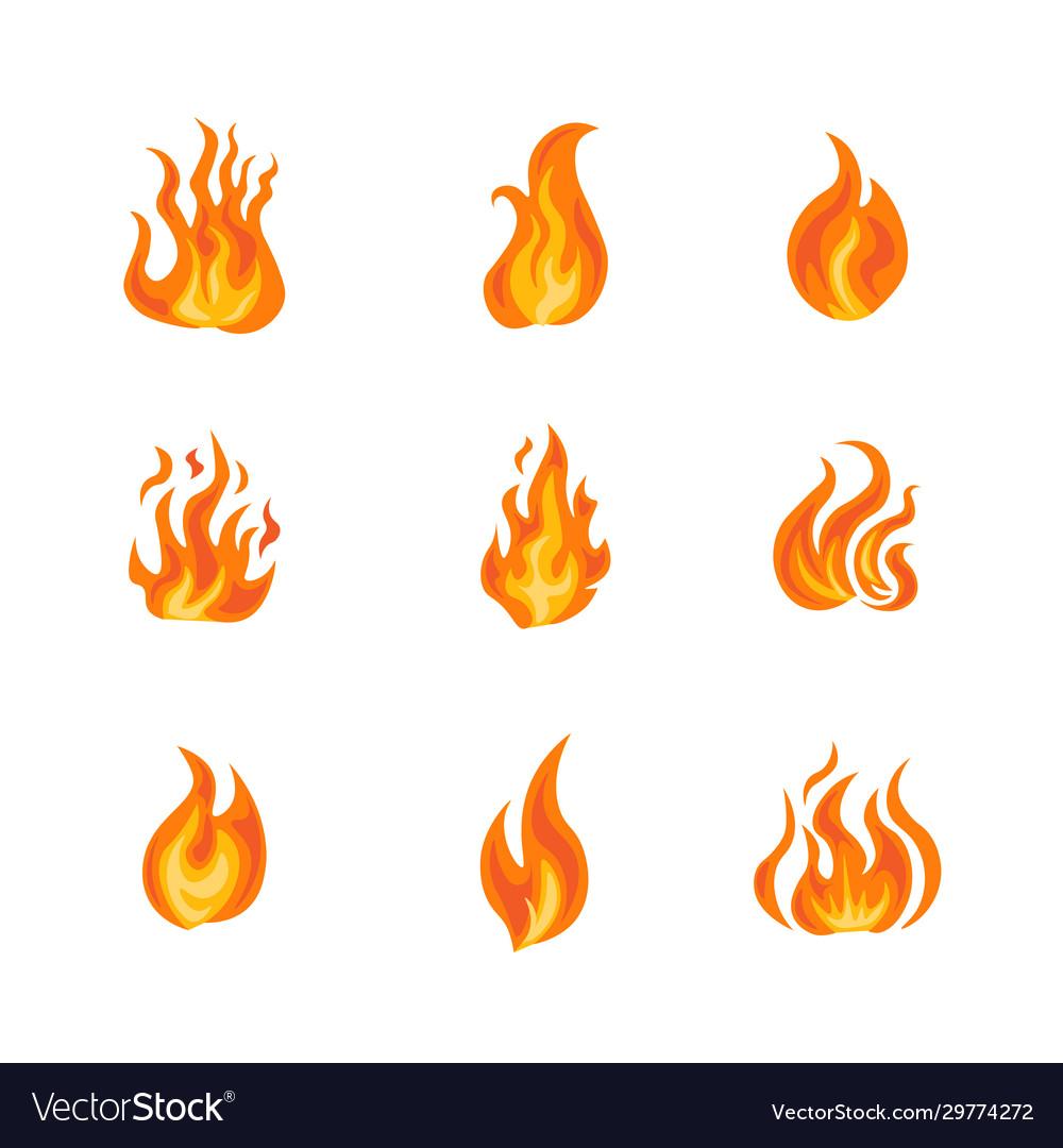 Fire frame icon set