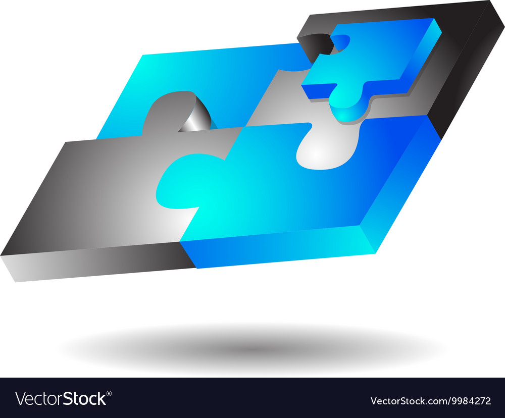Glossy Modern Puzzle Logo vector image