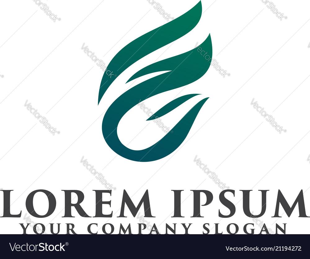 letter f leaf logo design concept template vector image
